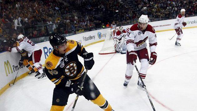 Bostonský David Krejčí odehrává puk před Martinem Hanzalem z Phoenixu.