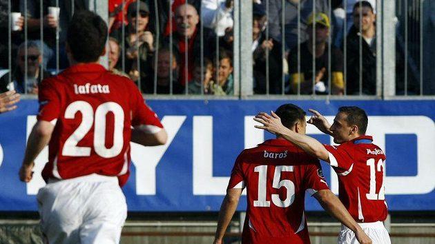 Zdeněk Pospěch se raduje se střelcem branky Milanem Barošem z branky do sítě Lichtenštejnska.