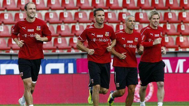 Čeští fotbalisté na tréninku národního týmu
