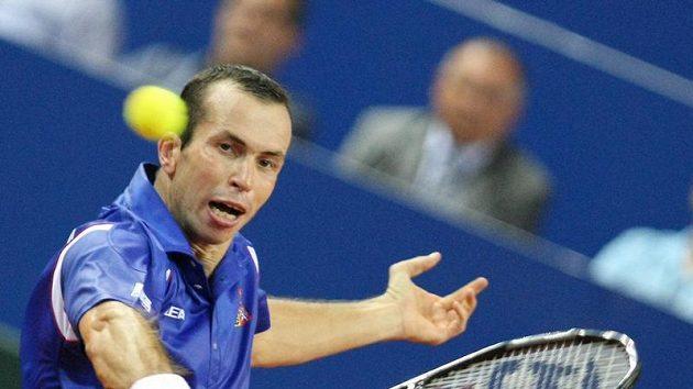Radek Štěpánek v utkání Davisova poháru proti Ivu Karlovičovi