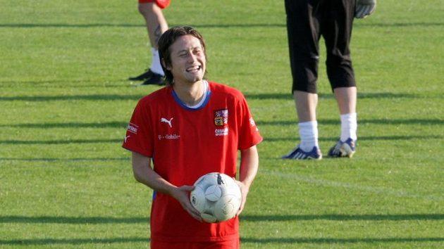 Tomáš Rosický na tréninku fotbalové reprezentace