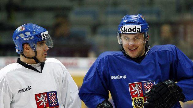 Petr Vampola (vpravo) a Tomáš Rolinek na tréninku hokejové reprezentace