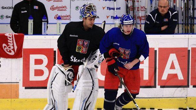 Brankář Ondřej Pavelec (vlevo) a útočník Jakub Voráček se v Brně zapojili do tréninku české reprezentace.