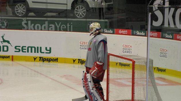 Vasilij Košečkin na tréninku ruských hokejistů