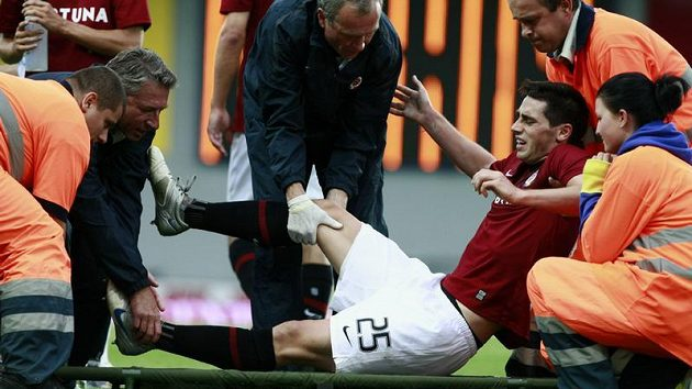 Zraněný fotbalista Sparty Kamil Vacek