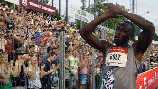 Jamajský sprinter Usain Bolt na Zlaté tretře v Ostravě