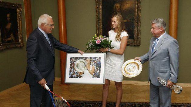Prezident Václav Klaus, tenistka Petra Kvitová, a Miroslav Černošek