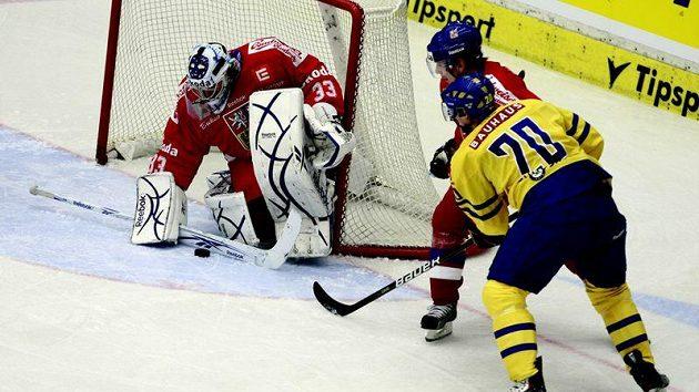 Brankář Jakub Štěpánek zasahuje proti Švédovi Thornbergovi.