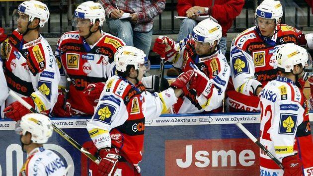 Radost hokejistů Slavie