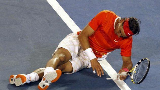 Rafael Nadal během čtvrtfinále Australian Open