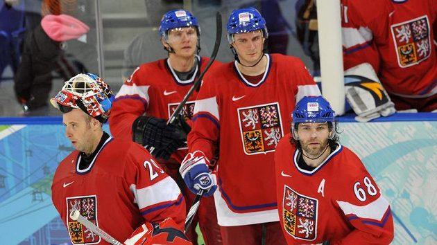 Zklamaní čeští hokejisté po vyřazení z olympijského turnaje ve čtvrtfinále.