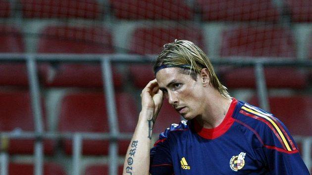 Španělský útočník Fernando Torres na tréninku