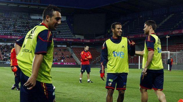 Španělští fotbalisté na tréninku.