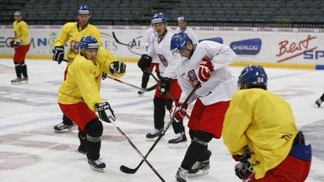 Trénink české hokejové reprezentace v Praze