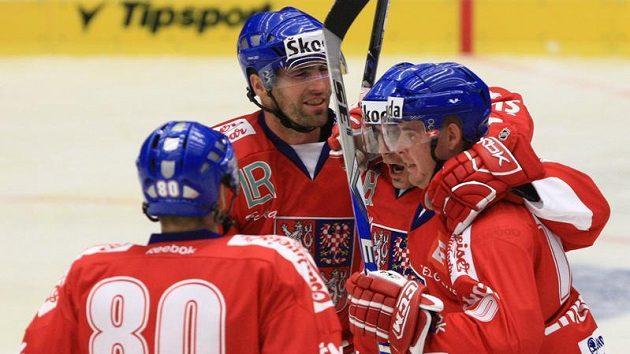 Radost českých hokejistů v utkání s Finskem na Českých hokejových hrách