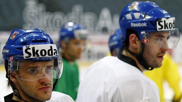Jan Marek (vlevo) na tréninku hokejové reprezentace