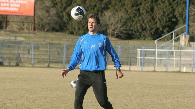 Plzeňský Marek Bakoš na tréninku před zápasem se Spartou.