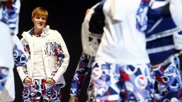 Krasobruslař Tomáš Verner na přehlídce oblečení pro českého olympijské reprezentanty ve Vancouveru.