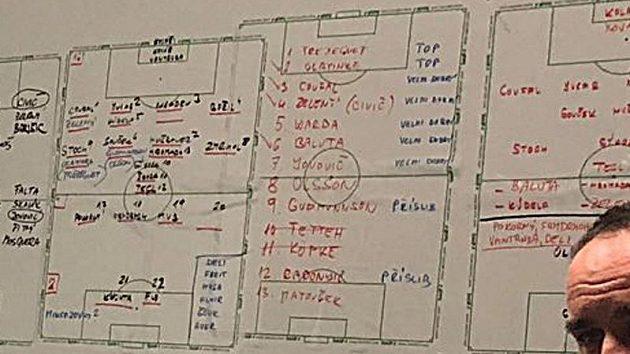 Tabule se jmény hráčů v kanceláři Jana Nezmara.
