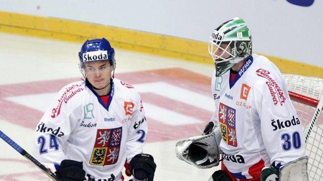 Čeští hokejisté Jiří Hudler (vlevo) s Markem Schwarzem.