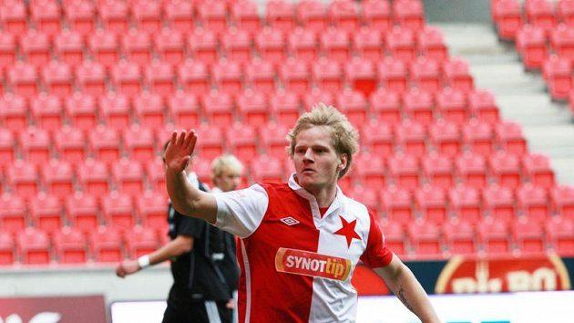 Štěpán Koreš slaví úvodní gól Slavie do sítě Příbrami, který vstřelil už ve druhé minutě zápasu.