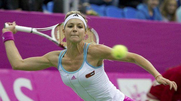 Maria Kirilenková během zápasu s Petrou Kvitovou ve Fed Cupu v Moskvě.
