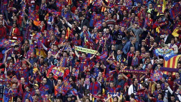Fanoušci Barcelony na stadiónu Wembley