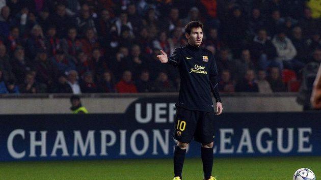 Hvězda Barcelony Lionel Messi při utkání v pražském edenu proti Plzni.