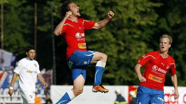 Petr Jiráček právě vstřelil vedoucí gól Plzně proti Baníku Ostrava.