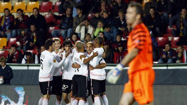 Radost fotbalistů Palerma po gólu do sítě Sparty