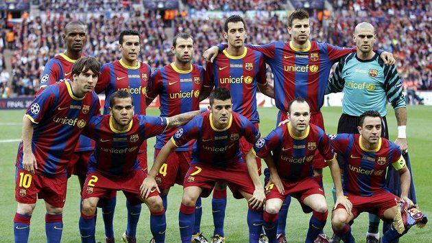 Základní jedenáctka Barcelony pro finále Ligy mistrů.