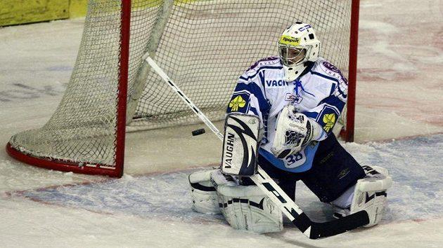 Brankář hokejistů Kladna Martin Falter v akci