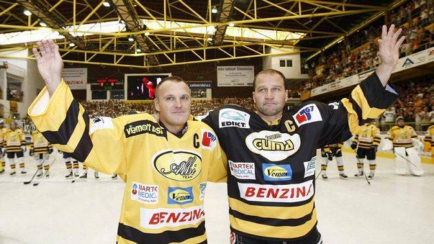 Robert Reichel (vlevo) a Jiří Šlégr při své rozlučce v Litvínově