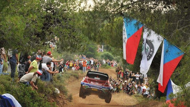 Mikko Hirvonen s Fordem na trati Rallye Akropolis