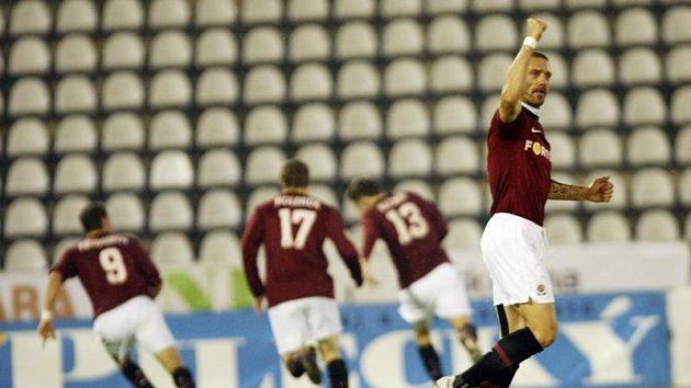 Sparťan Řepka se raduje, ve svém jubilejním 250. ligovém zápase se dočkal vítězství.