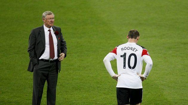 Zklamaný Alex Ferguson a Wayne Rooney po skonćení finále Ligy mistrů.