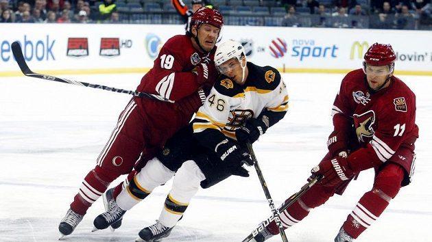 Krejčí z Bostonu mezi Doanem a Hanzalem z Phoenixu ve druhém pražském utkání NHL.