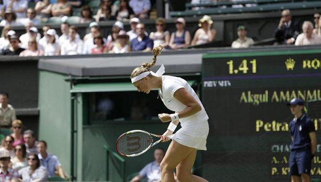 Petra Kvitová během prvního kola Wimbledonu