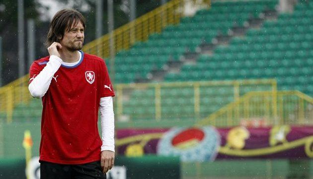 Tomáš Rosický na tréninku fotbalové reprezentace v polské Vratislavi