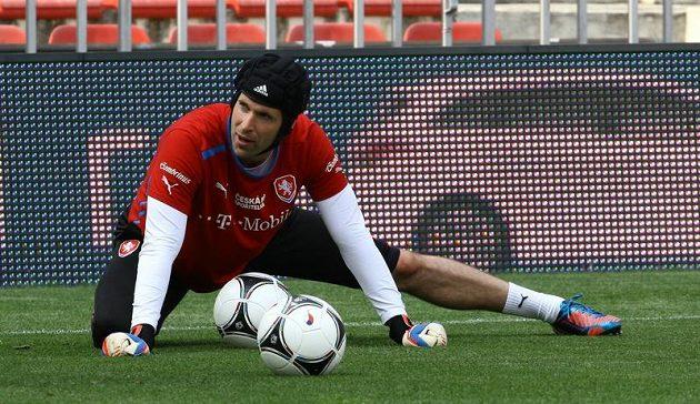 Brankář Petr Čech se na Letné připravoval na zápas s Maďarskem.
