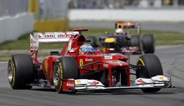 Fernando Alonso s ferrari na Velké ceně Kanady