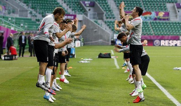 Hráči polské fotbalové reprezentace na tréninku před zápasem proti Česku
