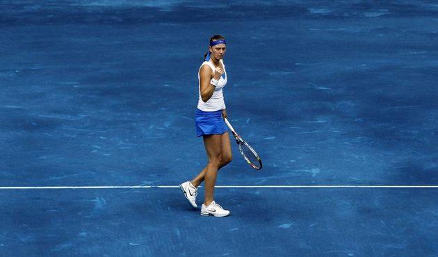 Petra Kvitová s vítězným gestem.