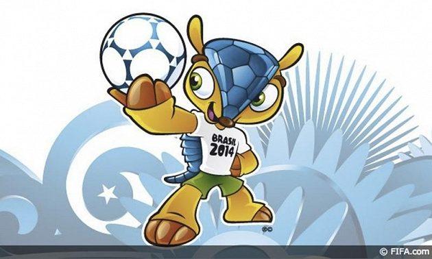 Maskot fotbalového MS v Brazílii 2014 je pásovec v národních barvách.