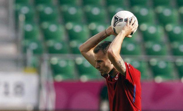 Václav Kadlec na tréninku fotbalové reprezentace před zápasem s Polskem