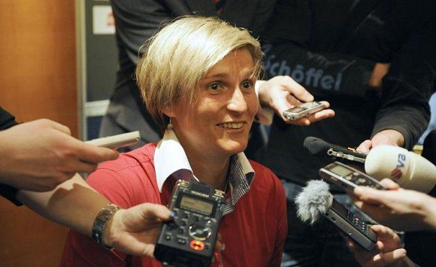 Oštěpařka Barbora Špotáková na tiskové konferenci před vyhlášením výsledků ankety Sportovec roku.
