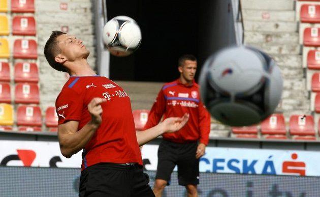 Tomáš Necid na tréninku české fotbalové reprezentace před zápasem s Maďarskem