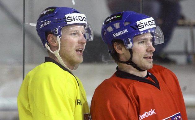 Hokejisté Aleš Hemský (vlevo) a Petr Průcha