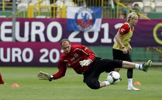 Brankář Jaroslav Drobný na tréninku českého týmu po zápase proti Řecku