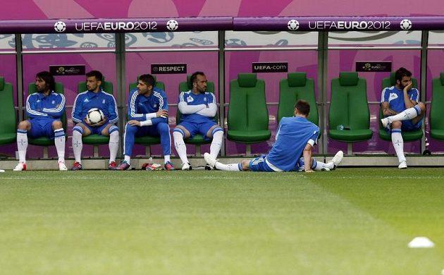 Řečtí fotbalisté během tréninku